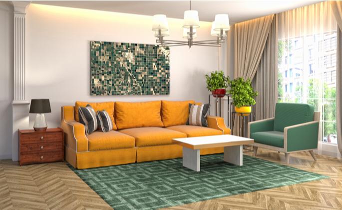 decoração colorida em uma sala de estar