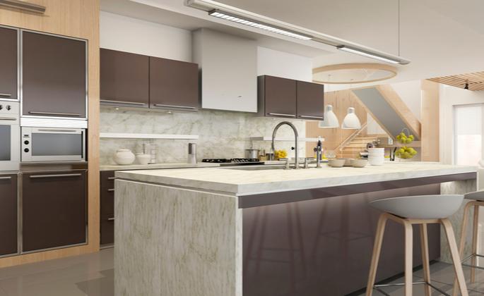 cozinha clean em madeira predominante - CIMA