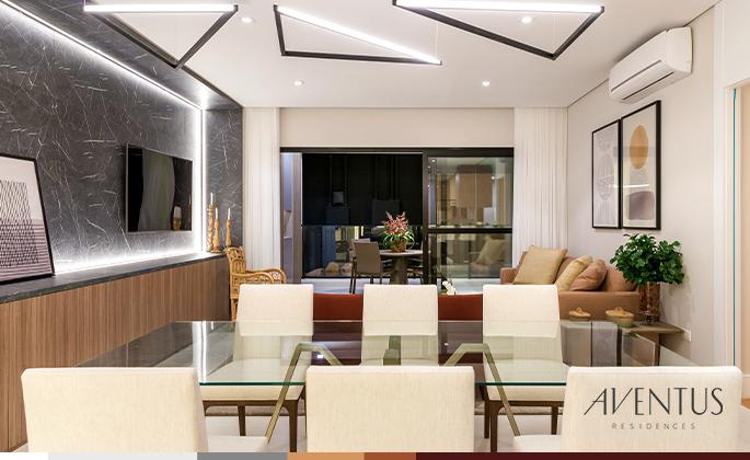 Apartamento decorado no Aventus Residences