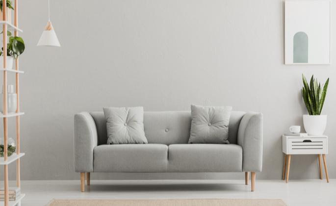 Sala de estar em decoração minimalista