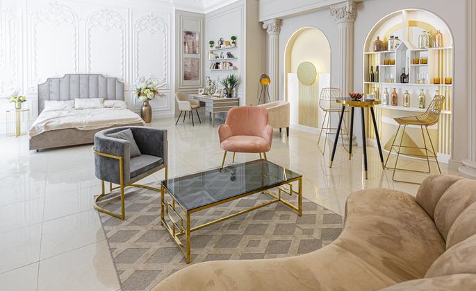 sala de estar com experiências de luxo
